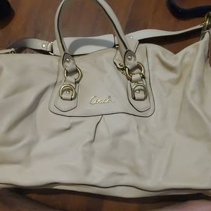 COACH ASHLEY BONE LEATHER SATCHEL PURSE F15447